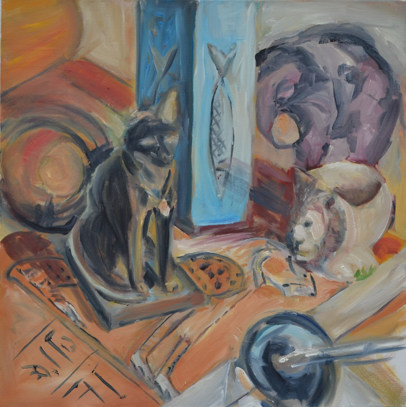 Painting of cat, elephant and fish