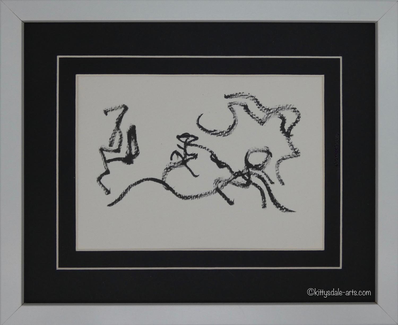 Framed figurative ink on paper artwork