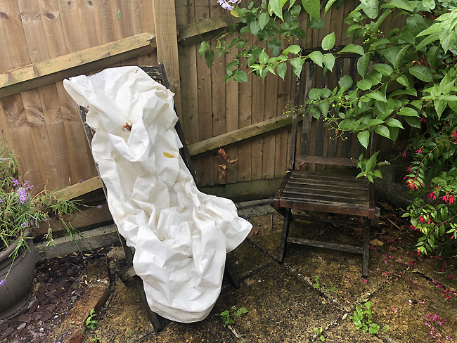 White material on garden chair
