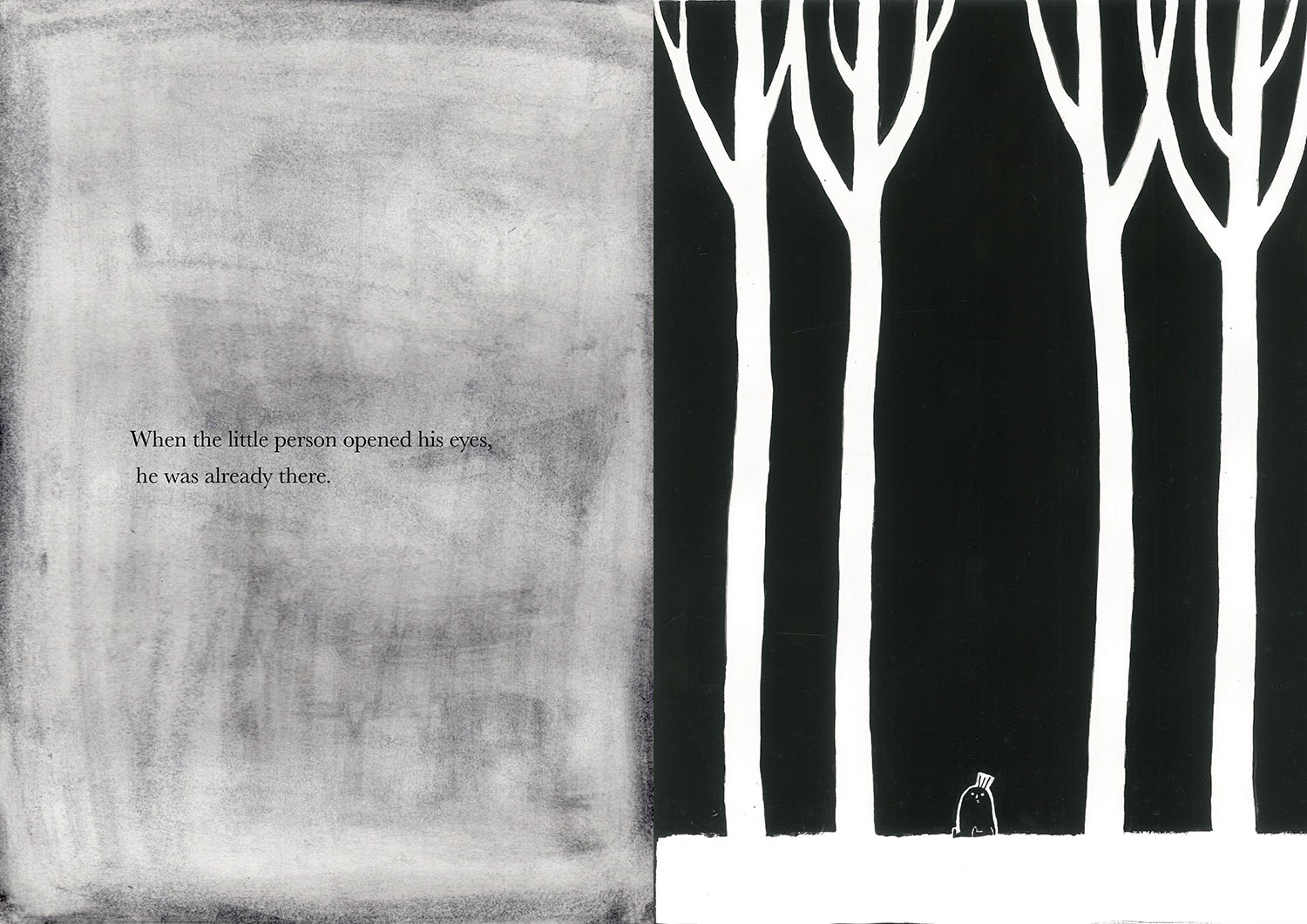 Black and white illustration from artists book of small creature in a wood with text from book