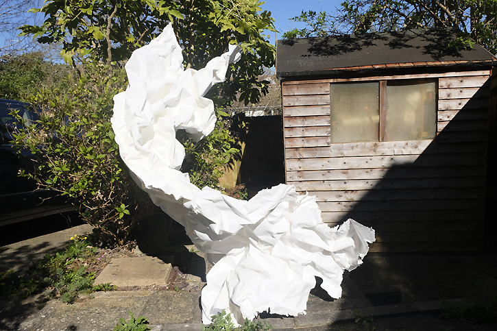 White material next to garden shed