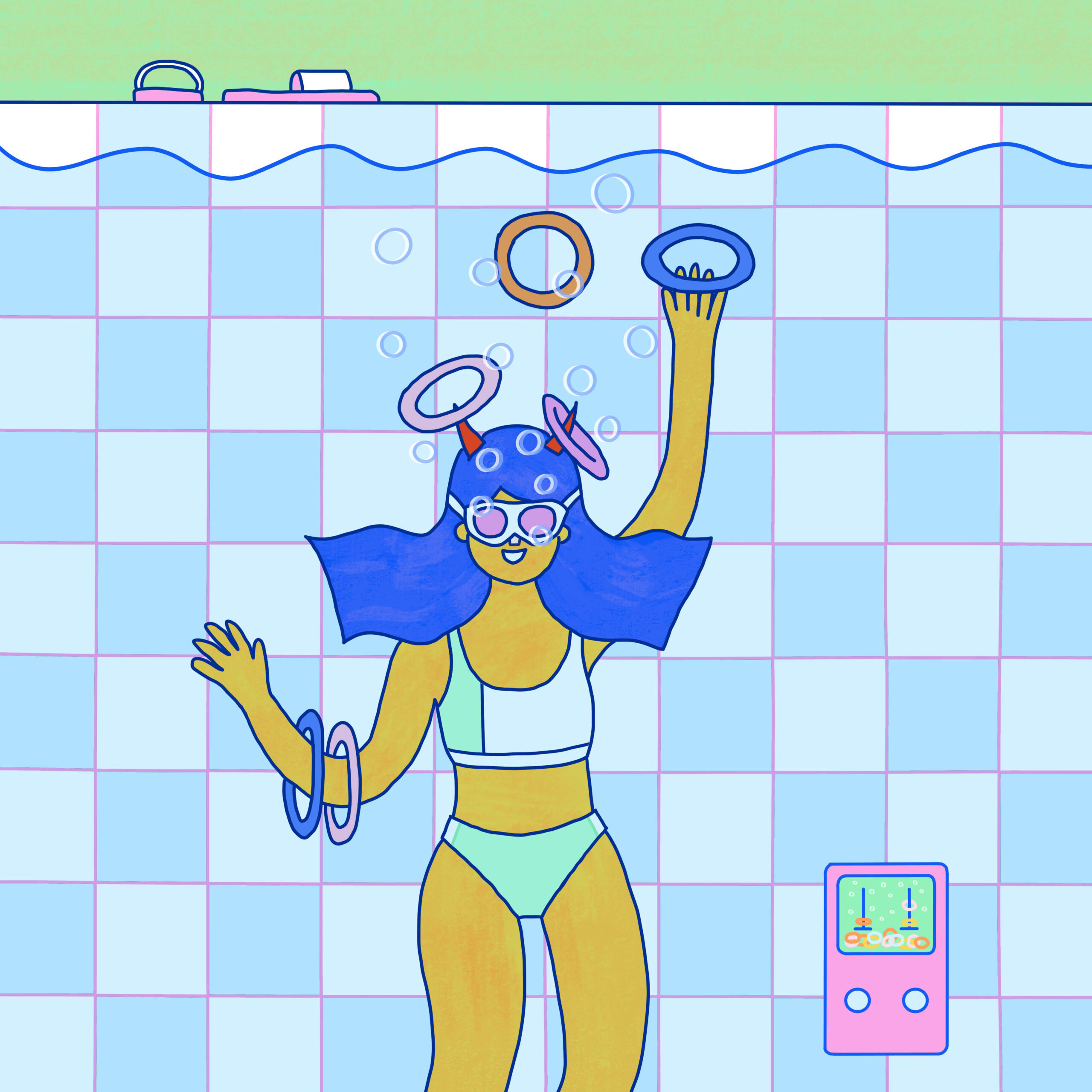 Illustration of person in swimming pool