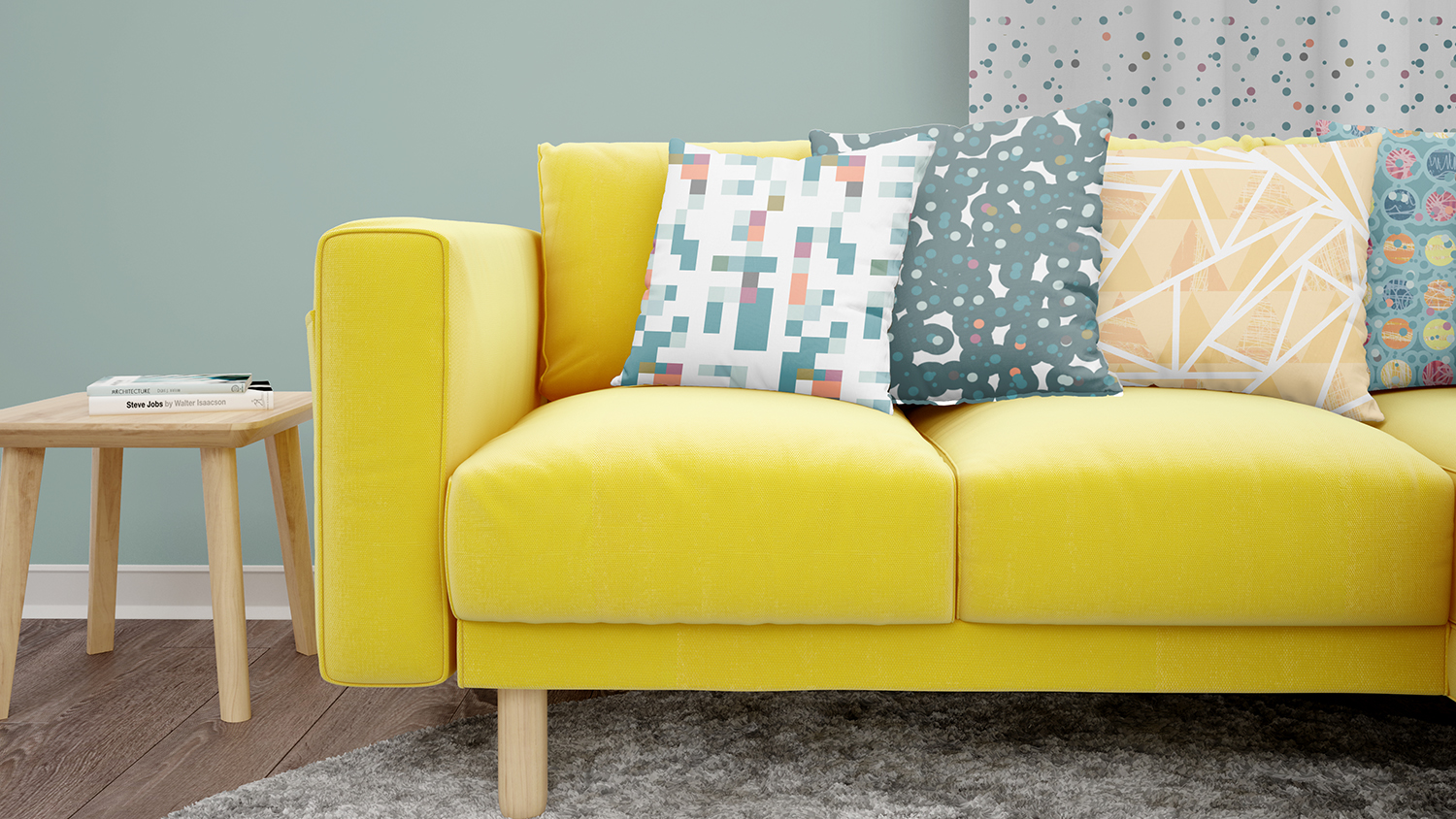 textile design mock up of cushions on a sofa