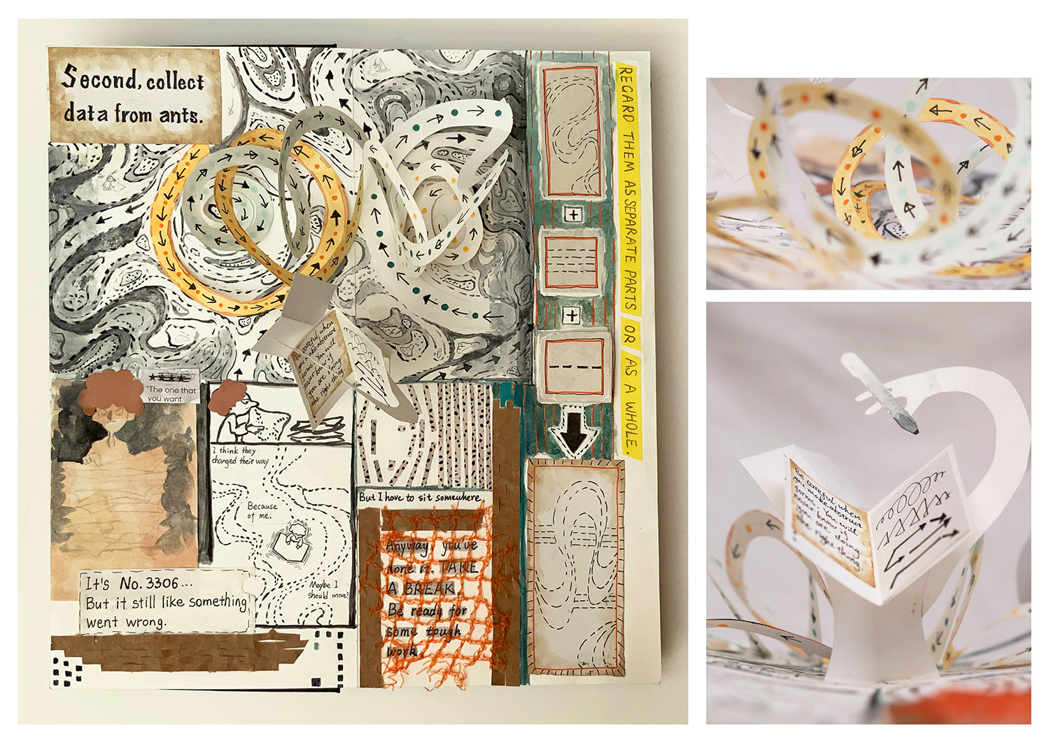 Photos of handmade illustrated pop-up book