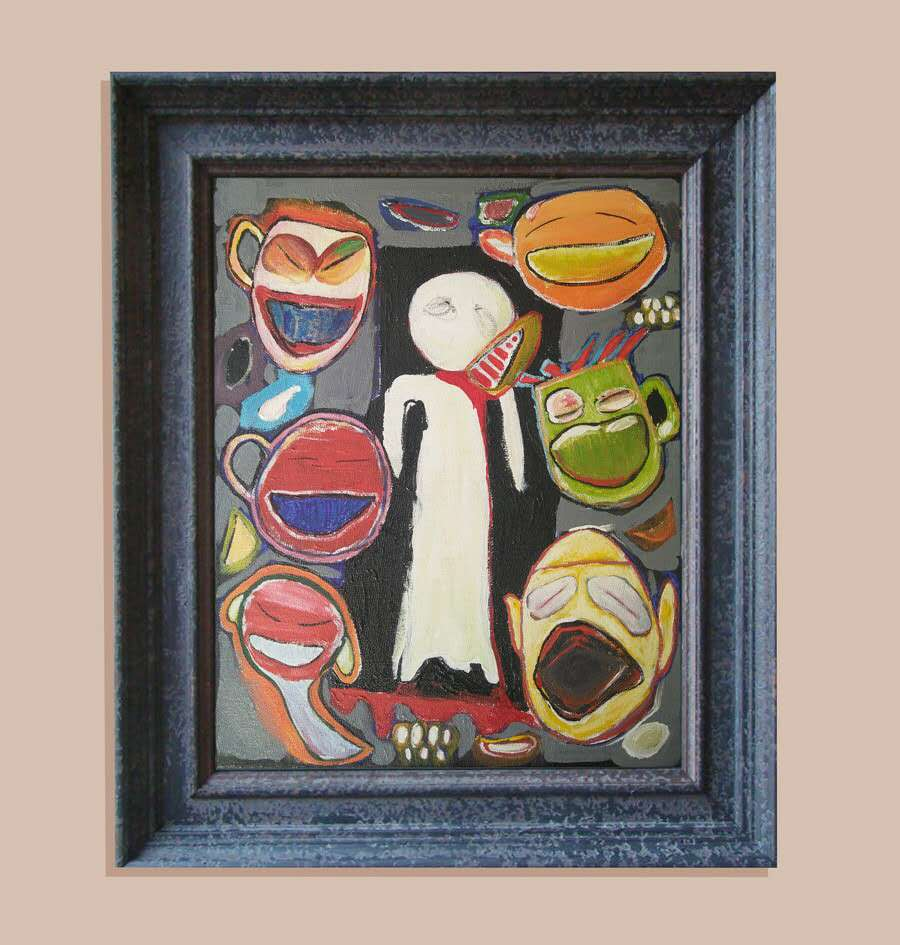 Framed painting of faces.