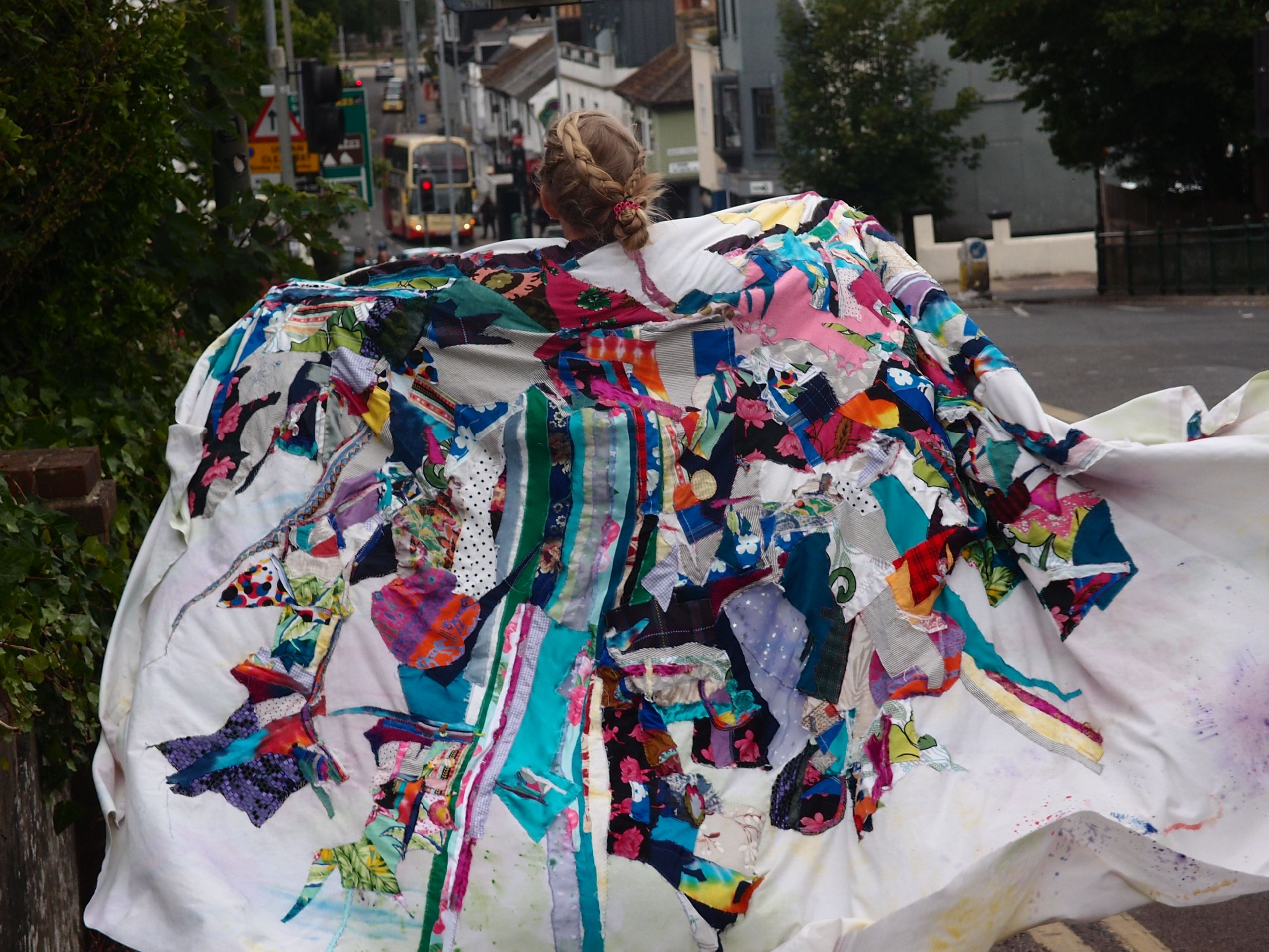 person wearing fabric costume
