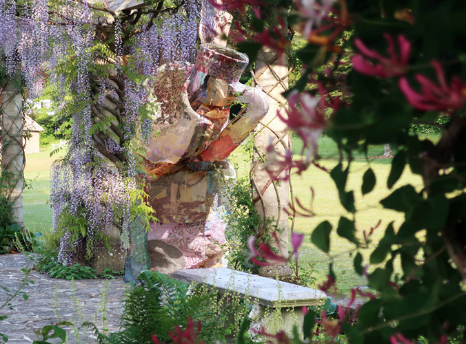 Sculpture in garden setting