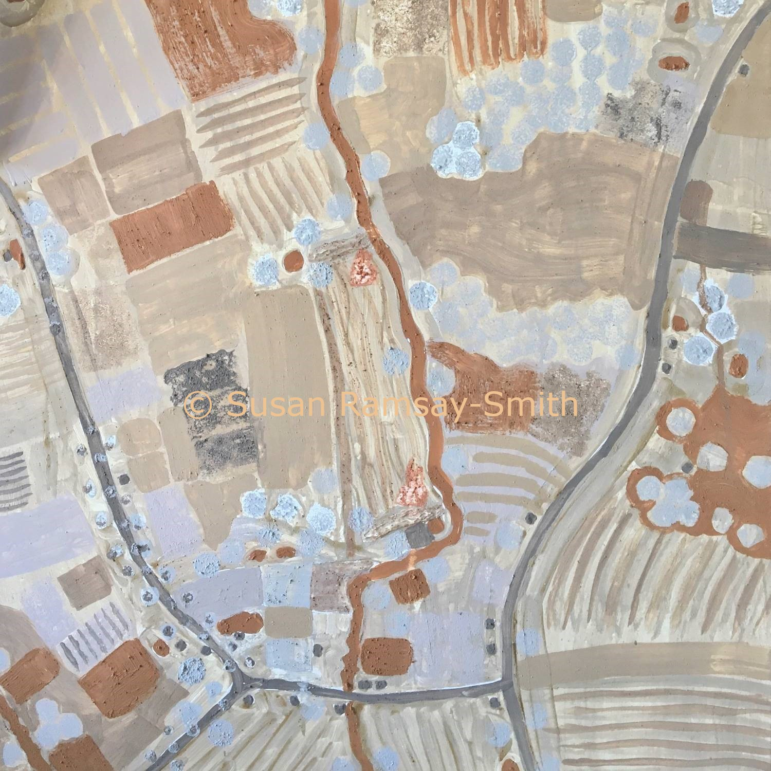 Map painted with clay